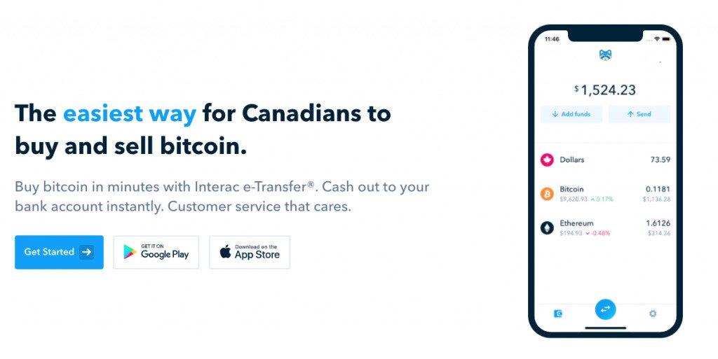 Screenshot of Shakepay Exchange Homepage