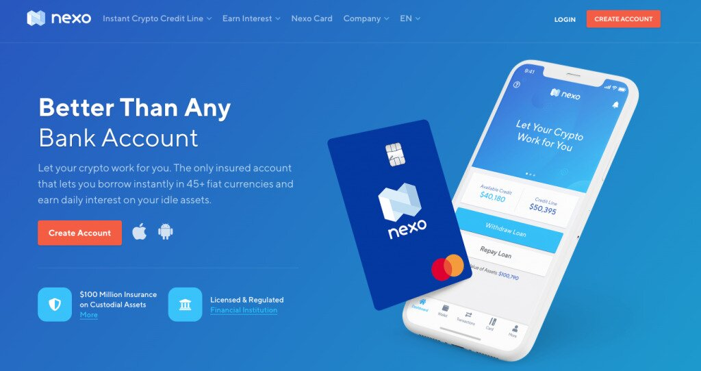 Screenshot of Nexo.io's Homepage