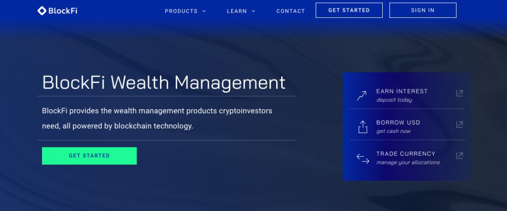 Screenshot of Blockfi's homepage