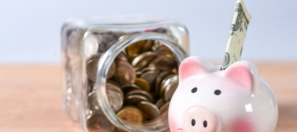 Piggy bank and money jar