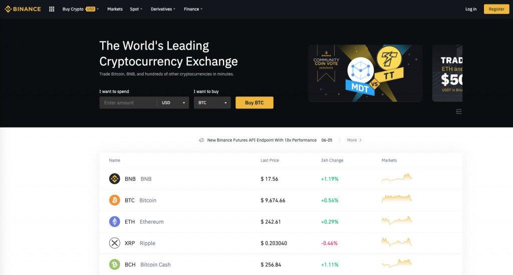 Screenshot of Binance Exchange Homepage