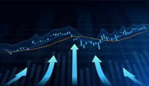 futuristic stock chart with blue arrows pointing upwards