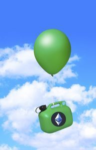 Gas can with Ethereum logo being lifted into air by balloon