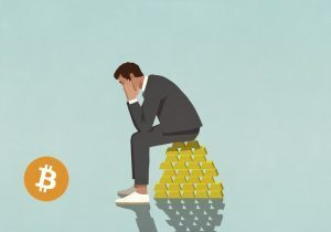 investor sitting on pile of gold looking at bitcoin
