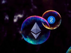 two bubbles floating in a void with Ethereum and yEarn Logos