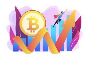 Bitcoin above an upward trend line with superhero