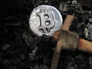 Bitcoin being mined from the ground