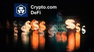 Crypto.com Logo among Neon Dollar Signs