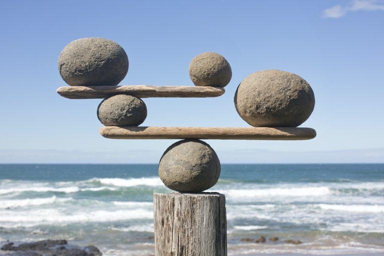 Balancing rock sculpture