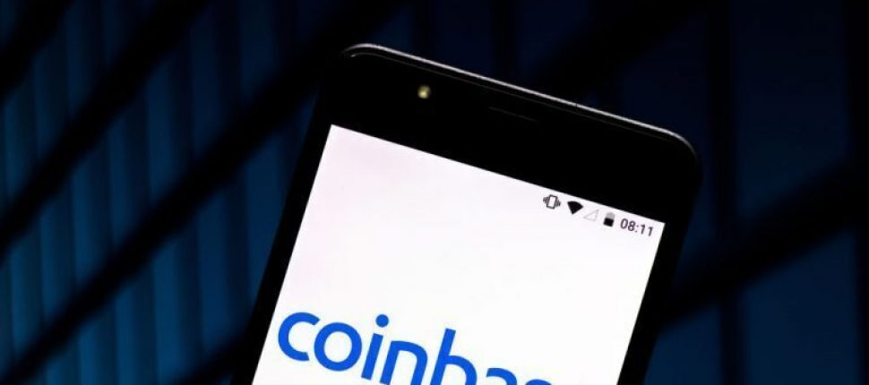Coinbase Logo on phone